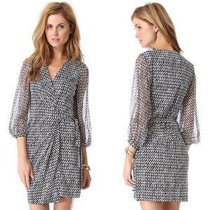 DVF • Sigorney Silk Sheer Sleeve Wrap Dress Black